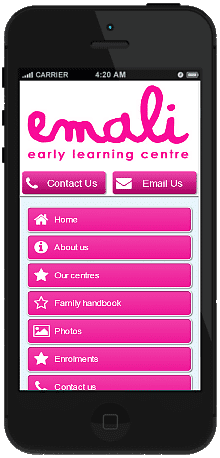 Childcare mobile site we built